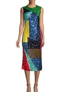 Alice and olivia multicolored squin dress
